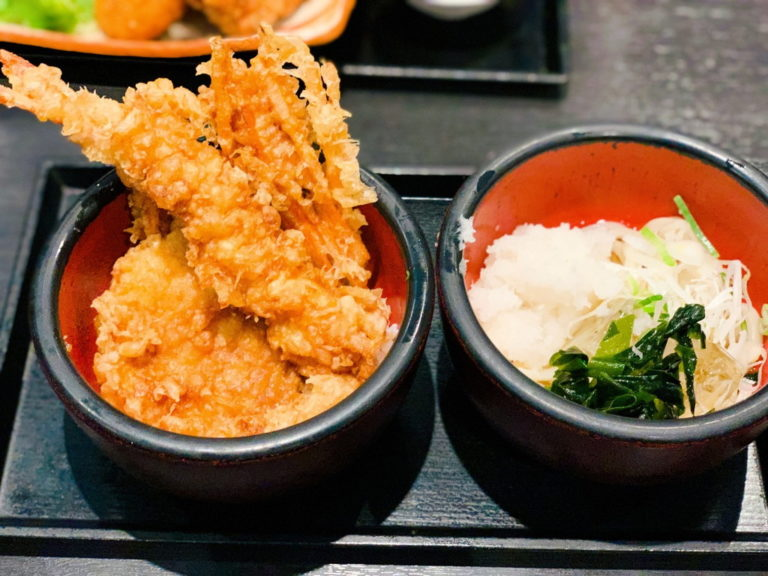 海老と野菜の天丼、おろしうどん